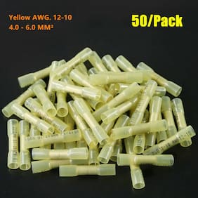 50pcs 12-10 Gauge AWG Heat Shrink Butt Wire Crimp Connectors Terminals Yellow