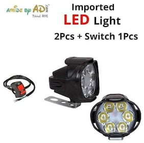 6 LED Small Circle Motorcycle Light Bike Fog Lamp Light Set-2+SwitchButton