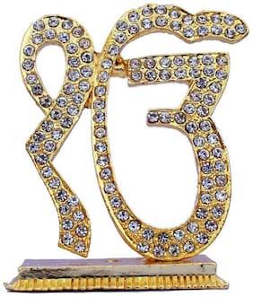 7cm big golden stylish ek omkar crystal stone studded for car dashboard, gift item, home decor