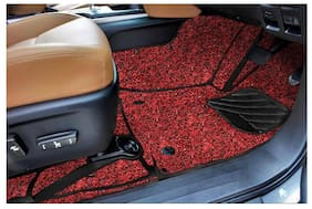 7D Curly Custom Fitted Car Mats For Tata Nexon - Black Red
