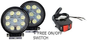 9 LED 27 watt Round Aux Fog Light Set of 2 WITH SWITCH For HERO GLAMOUR Fi