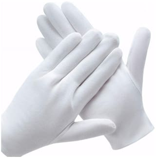 A P Creations Cotton Hand Gloves For Protection From Sun Burn/Heat/Pollution Size Free Suitable for all Weather Men's & Women's pack of 1 pairs (White)