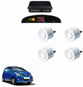 A2D Car Reverse Parking Sensor WHITE With LED Display- Hyundai Eon