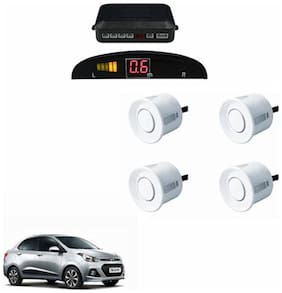 A2D Car Reverse Parking Sensor WHITE With LED Display- Hyundai Xcent