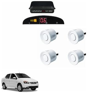A2D Car Reverse Parking Sensor WHITE With LED Display- Tata Indigo eCS