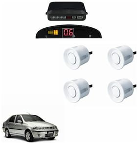 A2D Car Reverse Parking Sensor WHITE With LED Display- Fiat Siena