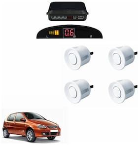A2D Car Reverse Parking Sensor WHITE With LED Display- Tata Indica