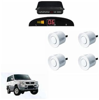 A2D Car Reverse Parking Sensor WHITE With LED Display- Tata Sumo Victa