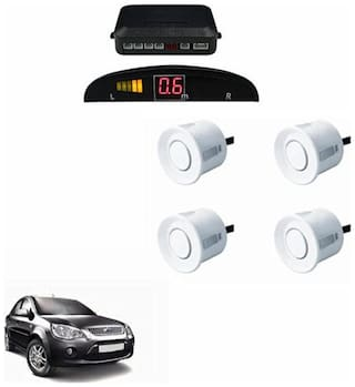 A2D Car Reverse Parking Sensor WHITE With LED Display- Ford Fiesta Classic