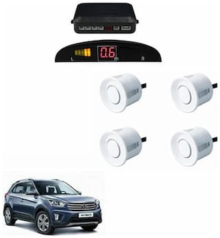 A2D Car Reverse Parking Sensor WHITE With LED Display- Hyundai Creta
