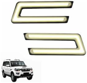 A2D Type-U White LED Fog Light Car DRL Day Time Running Lights-Mahindra Scorpio