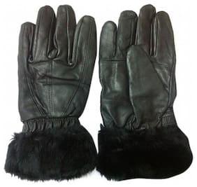 Aadikart Designer black Synthetic Leather hand gloves Protact for winter for Women