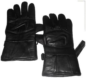 Aadikart Designer black Synthetic Leather hand gloves Protact for winter