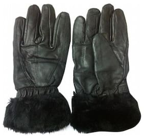 Aadikart Designer black Synthetic Leather hand gloves Protact for winter for Women