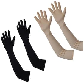 Aadikart Hand gloves protact for winter and summer-2 set (Skin And Black)