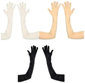 Aadikart Hand gloves protact for winter and cold Skin,Black and white Color-(Set OF 3)