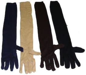 Aadikart Ladies Full Hand Gloves and Sun Protection Beige Gloves Women ( 4 Pair )