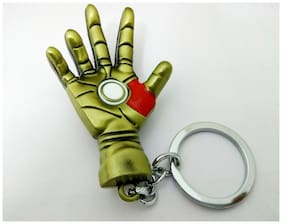 AAi  Classic Avenger of Iron Man The Palm Of The Hand 3D Metal Keychain As Gift For  Car and Bike - Golden
