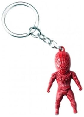 Aai Hot Movie Spider-Man 3D Model Keyring Marvel Alloy Key Holder - Red