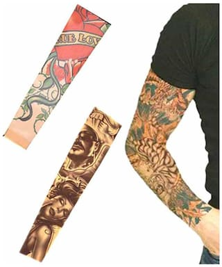 Aashirwad Craft High Quality Stretchable Nylon Cloth Tattoo Art Arm Sleeves - Pack Of 2