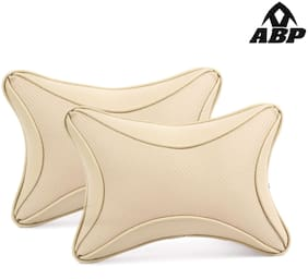 Abp Beige Color Rectangle Leatherite Car Pillow Cushion For All Cars