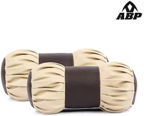 Abp Brown & Beige Color Rectangle Leatherite Car Pillow Cushion For All Cars