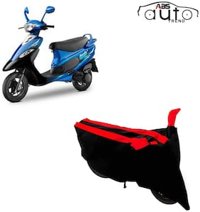 ABS AUTO TREND Two-Wheeler Body Cover for Tvs Scooty Pep Plus ( Black and Red )