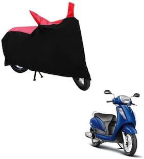 ABS AUTO TREND TWO WHEELER BODY COVER FOR SUZUKI ACCESS 125 (Black and Red)