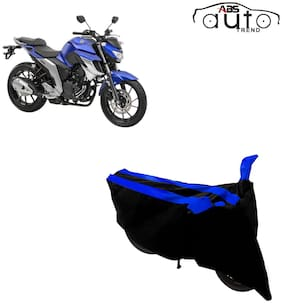ABS AUTO TREND Two-Wheeler Body Cover for Yamaha Fz 25 ( 2 Strip, Black and Blue )