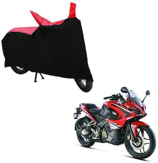 ABS AUTO TREND TWO WHEELER BODY COVER FOR BAJAJ PULSAR RS 200 (Black and Red)