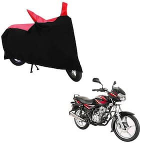 ABS AUTO TREND TWO WHEELER BODY COVER FOR BAJAJ DISCOVER 125 (Black and Red)