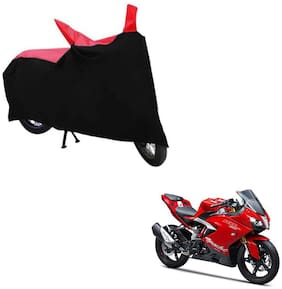 ABS AUTO TREND TWO WHEELER BODY COVER FOR TVS APACHE RR 310 (Black and Red)