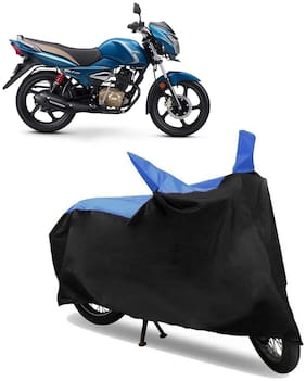 Abs Auto Trend Bike Body Cover for TVS VICTOR ( Black and Blue )