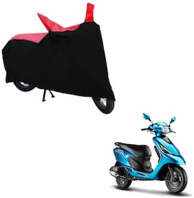 ABS AUTO TREND TWO WHEELER BODY COVER FOR TVS SCOOTY ZEST (Black and Red)