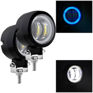 Acube Mart 3 Inch Round White Fog Light with Blue Halo Angel Eye Ring for Bike Motorcycle Car & Off Road SUV (20W;2 pcs)
