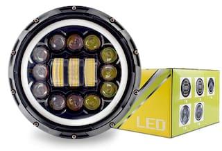 Acube Mart Full ring15 led 90W 15 LED Headlight for Royal Enfield Classic;Bullet 350;Thunder Bird;Standard;Electra;Thar