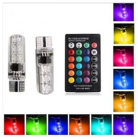 Acube Mart LED Parking Bulb with IR Remote for All Cars (Pack of 2, Multicolor)