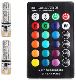 Acube Mart LED Parking Bulb with IR Remote for All Cars and Bikes (Pack of 2;Small;Multi-Color)