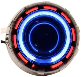 Acube Mart Projector Lamp Headlight with Dual Ring COB LED Angel Eye Rings for Cars;Bikes and SUVs (Red and Blue)