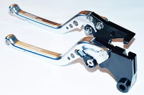Acube Mart Royal Enfield Himalayan Bullet 350 500 Classic 350 500 Desert Storm Chrome Thunderbird 500 350 Continental GT 535 Adjustable Brake Clutch Levers (Silver)