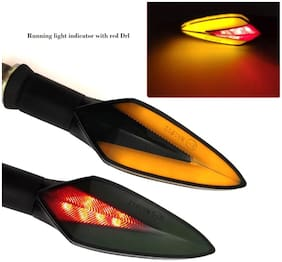 Acube Mart V shape running indicator with red drl universal for bike set of 4