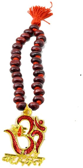 AFH Lord Shiva Om Mahakaal Red Wooden Mala Car Mirror Charm Decorative Hanging Ornament