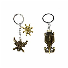 Afwan Skull with Ship Wheel & Car Pack of 2 Keychains