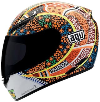 AGV Full Face Helmet K3 Dreamtime Glossy Yellow and Blue Size-M
