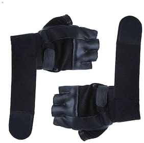 Alamos High Quality With Half Finger Pure Leather Gloves For Gym/Bike Riding