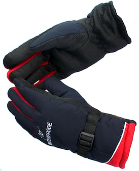 AlexVyan 1 Pair Red -20 Imported Snow Proof(Fur Inside) Warm Winter Protective Riding Gloves for Cycling Byke Bike Motorcycle for Men Boys Male Gents