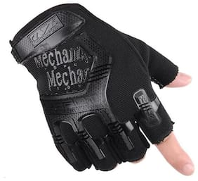 AlexVyan 1 Pair Black Half Finger Protective Riding Gloves for Cycling Byke Bike Motorcycle for Men Boys Gents