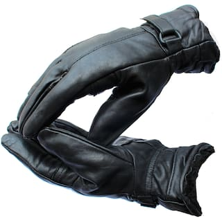 AlexVyan 1 Pair Leather Snow Proof Warm Winter Protective Riding Gloves for Cycling Byke Bike Motorcycle for Men Boys Male Gents