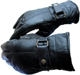 AlexVyan 1 Pair Special Leather Snow Proof Warm Winter Protective Riding Gloves for Cycling Byke Bike Motorcycle for Men Boys Male Gents
