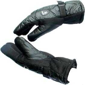 AlexVyan Black Soft Imported Snow Proof(Fur Inside) Warm Winter Protective Riding Gloves for Cycling Byke Bike Motorcycle for Men Boys Male Gents